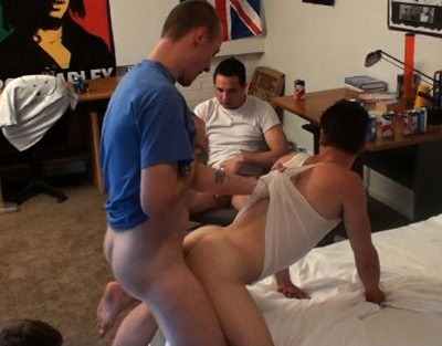 slutty gay guy takes two cocks up his ass