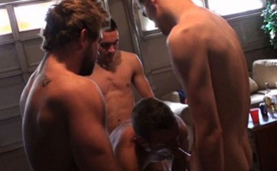 three college dudes gangbanging one horny guy bitch